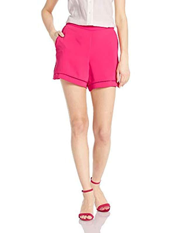 877d13d4a4b Lyst - Trina Turk Bubbly Ladder Stitch Pull On Short in Pink