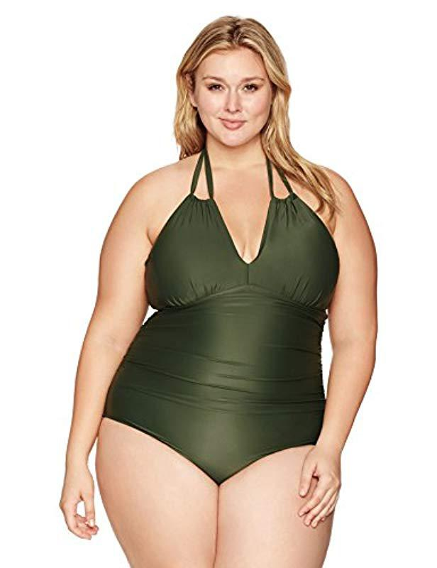 592c492140f Coastal Blue. Women s Green Plus Size Swimwear Convertible Halter Ruched  One Piece Swimsuit