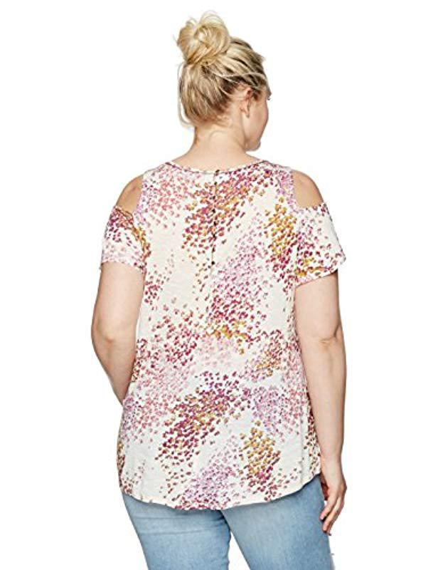 07797baaf91 Lyst - Lucky Brand Plus Size Floral Cold Shoulder Top in Pink