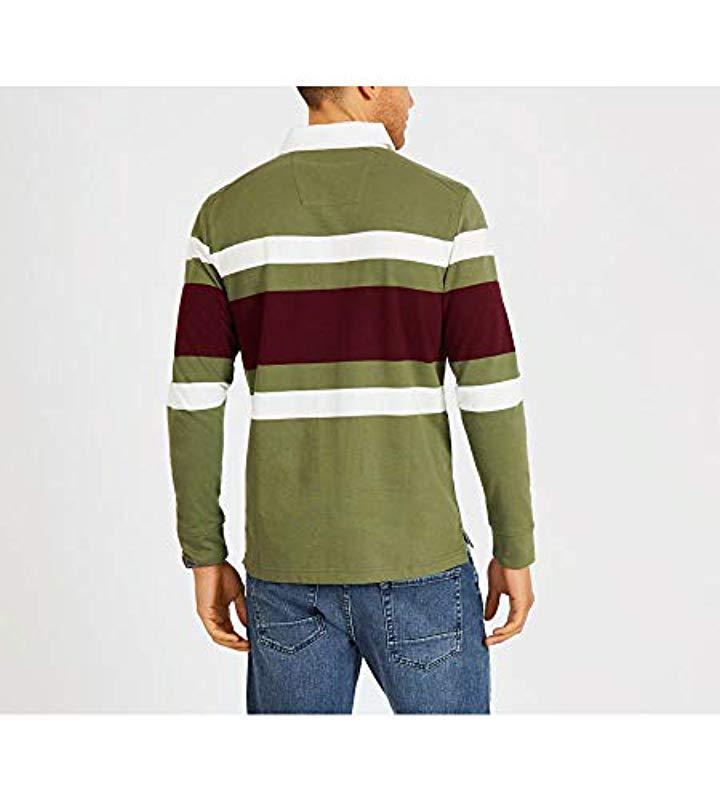 c7304ed8 Nautica - Green Striped Heavy Weight Jersey Long Sleeve Polo Shirt for Men  - Lyst. View fullscreen