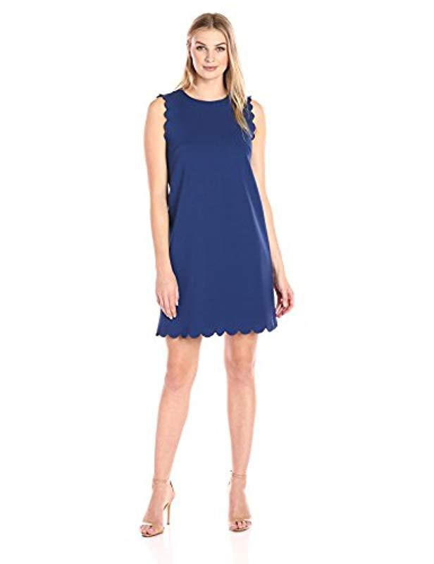 0b66b54cfb8 Lyst - Lark   Ro Sleeveless Scalloped A-line Dress in Blue - Save 29%