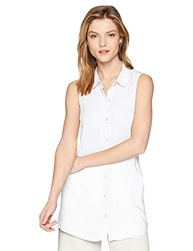 abe3b0e1c1f8e Lyst - BCBGeneration Tie Back Button Down Tank in White - Save 68%