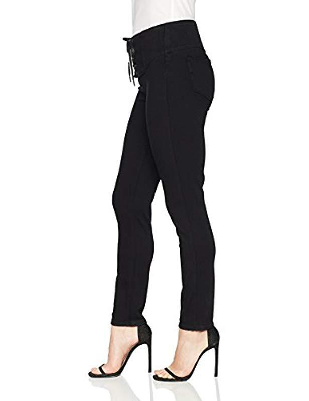 711e47caee3a5 PAIGE Carrie Lace Up Skinny Jean in Black - Lyst