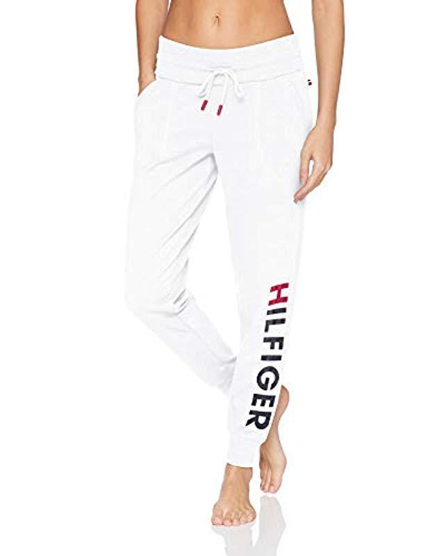 3c8bee2e769 Tommy Hilfiger. Women s White Logo Jogger Sweatpant Lounge Pant Bottom ...