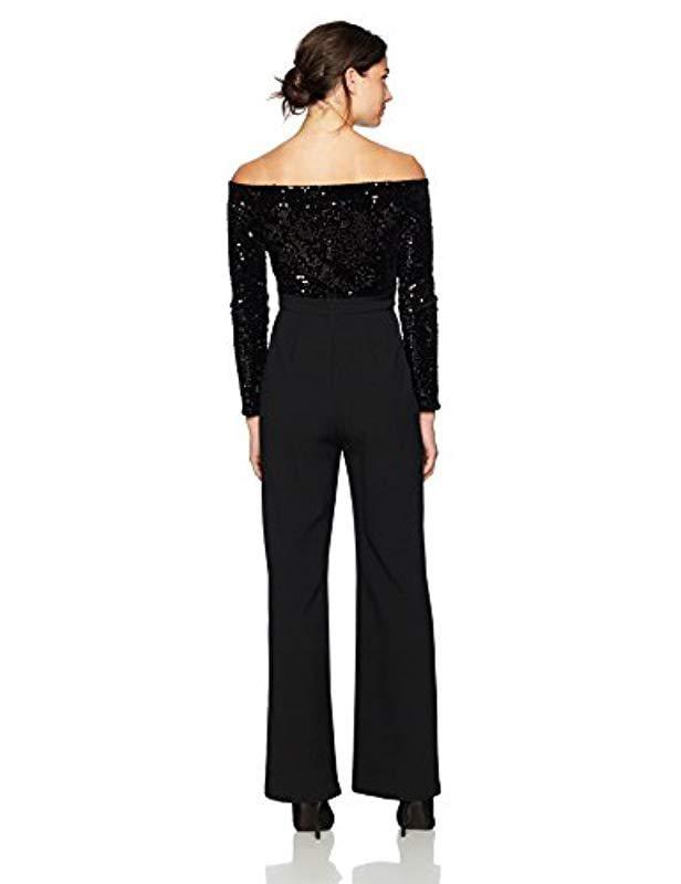 f5eeefbbe4ce Lyst - Eliza J Sequin Bodice Jumpsuit in Black - Save 20%