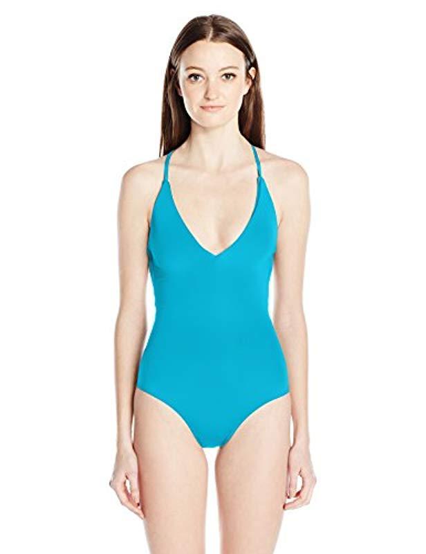 e0f0532dd98de Roxy Strappy Love Criss Cross One Piece Swimsuit in Blue - Save 1 ...
