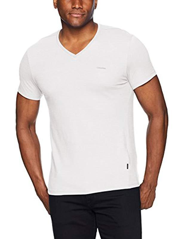 c0d9dfdbf Lyst - Calvin Klein Short Sleeve Jersey Cotton V-neck T-shirt in ...