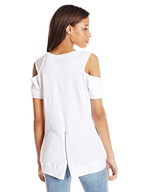 e58b36c5e75dc2 Lyst - Pam   Gela S s Cold Shoulder Sweatshirt in White - Save 42%