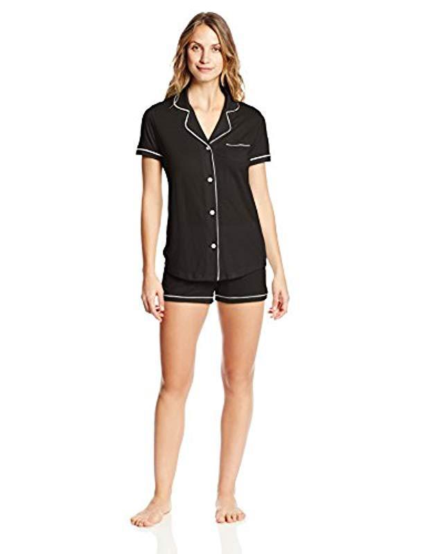 c2fea3db39ab Lyst - Cosabella Bella Short-sleeve Cotton Boxer Pajama Set in Black