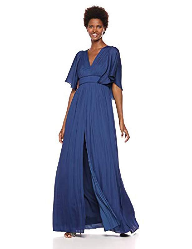 5fb2ae6d05d7 Lyst - Halston Cape Sleeve V Neck Flowy Pleated Gown in Blue
