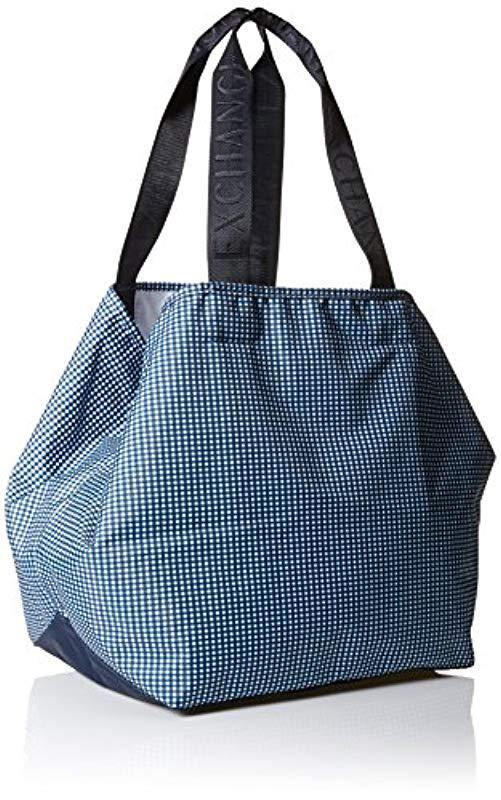 5d8c5acee50b Lyst armani exchange nylon big shopper in blue jpeg 501x800 Armani exchange  large tote