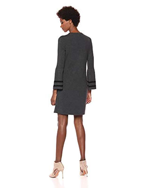 39de33b11b4 Lyst - Tommy Hilfiger Peplum Sleeve Sweater Dress in Black