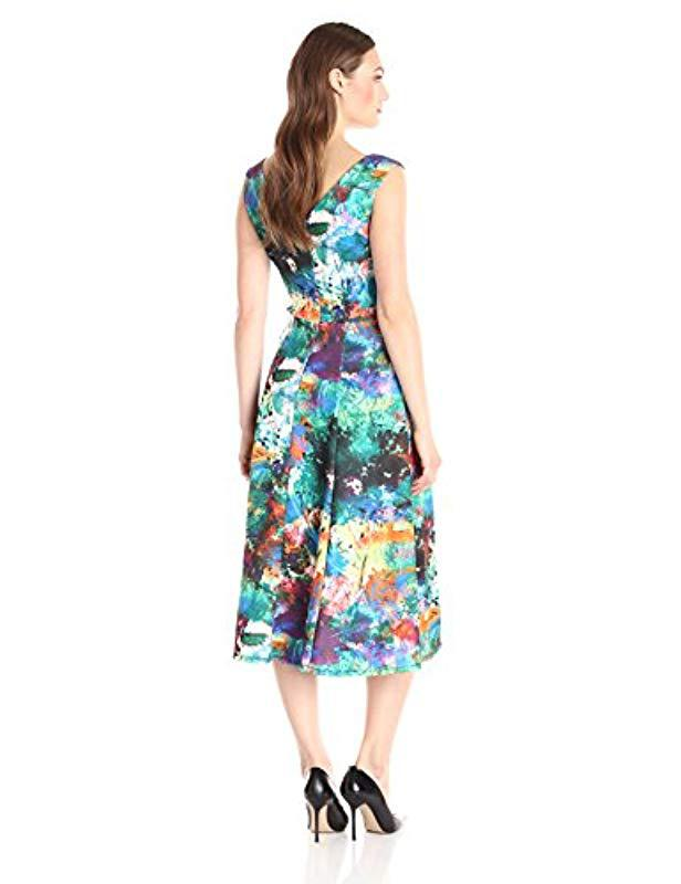 c14556600bc1ce Lyst - Betsey Johnson Printed Scuba Pleated Dress in Blue - Save 42%