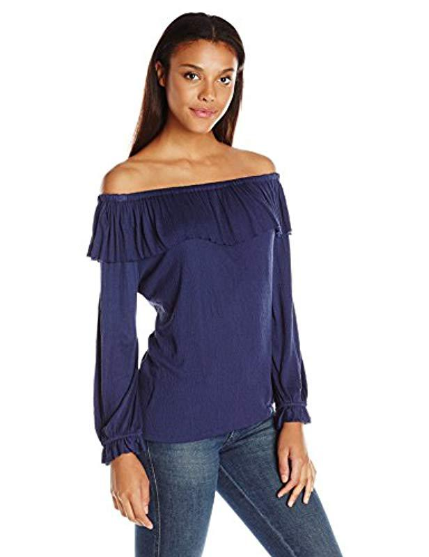 23fc11350e1 Lyst - Ella Moss Gioannia Off The Shoulder Blouse in Blue - Save 75%