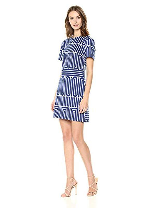 a9f1636f18be7 Lyst - Trina Turk Trina Zap Short Sleeve Shift Dress in Blue - Save 7%