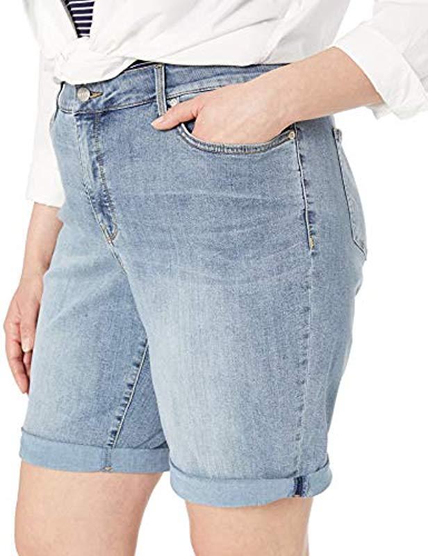 87b5ebeb2b Lyst - NYDJ Plus Size Briella Roll Cuff Jean Short In Cool Embrace Denim in  Blue