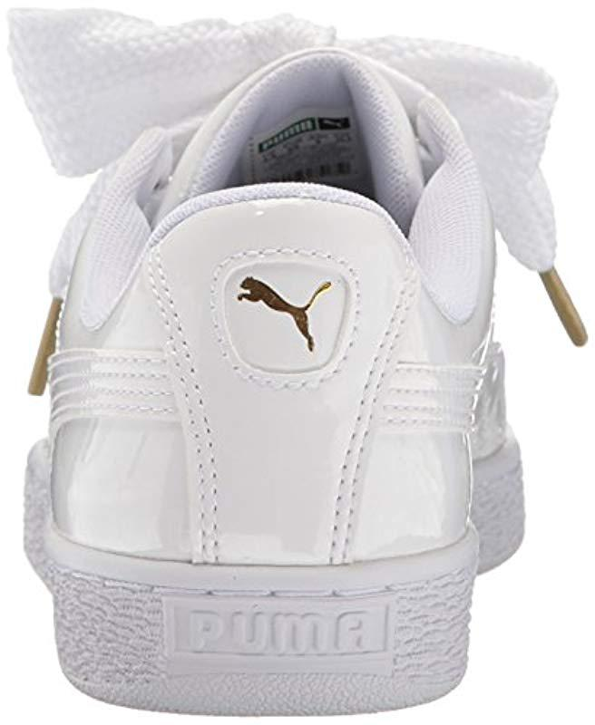 2e130d7aaf0 Lyst - PUMA Basket Heart Patent Wn s Fashion Sneaker in White - Save 61%