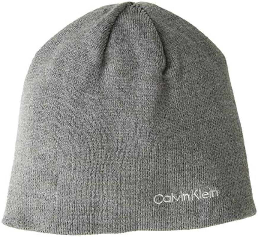 1bb4b81a97d Lyst - Calvin Klein Knit Beanie in Gray for Men - Save ...