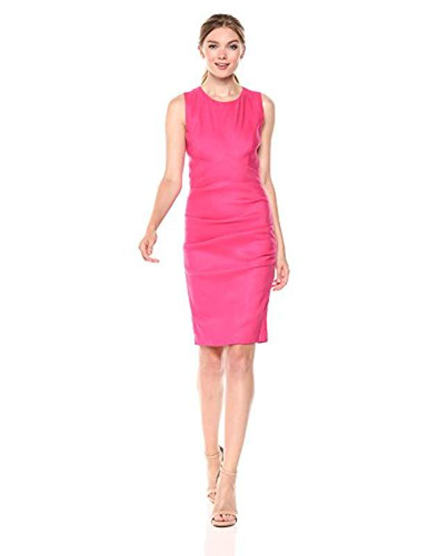 2bbb99f6a29 Nicole Miller Solid Stretch Linen X-back Tuck Dress in Pink - Lyst