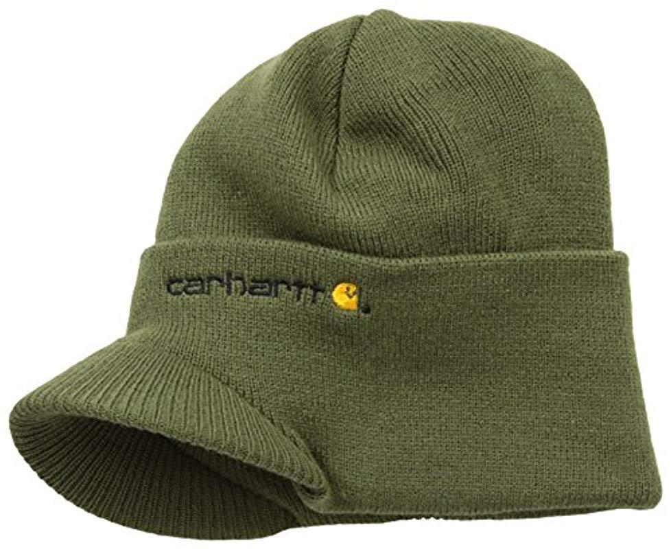 6f9588203e3fb Lyst - Carhartt Knit Hat With Visor in Green for Men - Save ...
