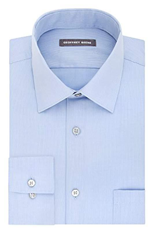 fafdc1a339 Geoffrey Beene. Men s Blue S Dress Shirts Fitted Textured Sateen Spread  Collar
