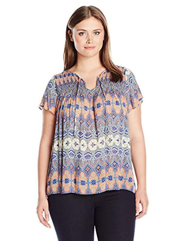 047461cfc20 Lyst - Lucky Brand Plus-size Printed Smocked Top in Blue - Save 63%