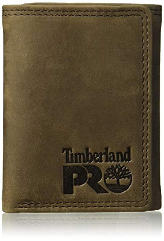 lyst timberland rfid leather trifold wallet with id window for men