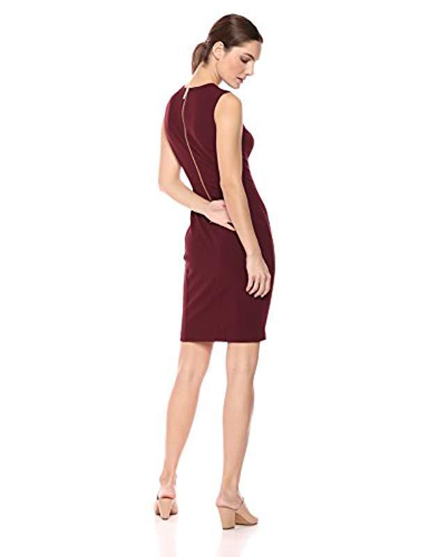 e2e4b781 Lyst - Calvin Klein Scuba Crepe Sleeveless Princess Seam Sheath Dress in Red