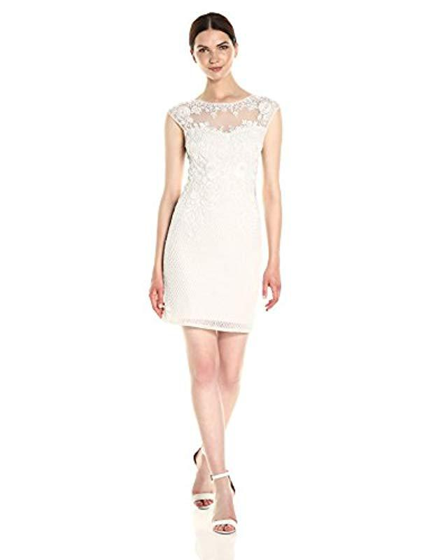 2711430501 Lyst - Parker Montclair Sleeveless Fitted Beaded Mini Dress in White ...