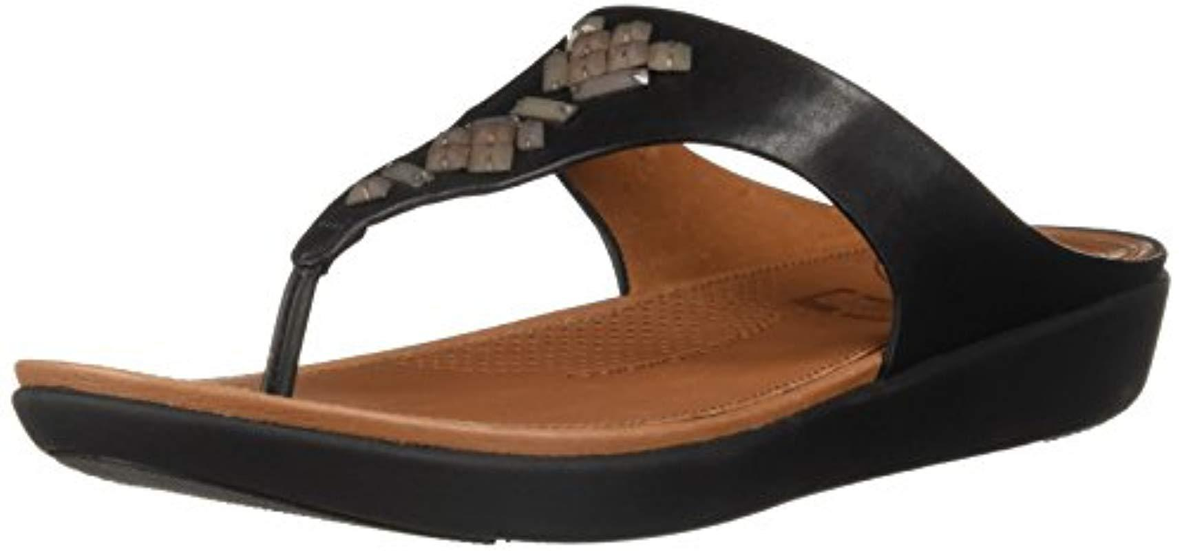 b293d20f263341 Lyst - Fitflop Banda Leather Toe-thong Sandals-crystal Slide in Black
