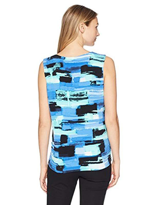 9536296e6110b1 Lyst - Kasper Brush Stroke Topstich Ity Pleat Neck Cami in Blue