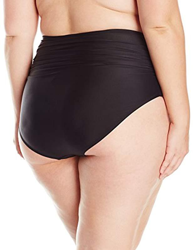 779d16fbdd8aa ... Plus Size Swimwear Shirred High Waist Bikini Bottom - Lyst. View  fullscreen