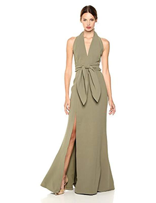 e7b0fe819224 Lyst - C meo Collective Methodical Halter Gown With High Slit And ...