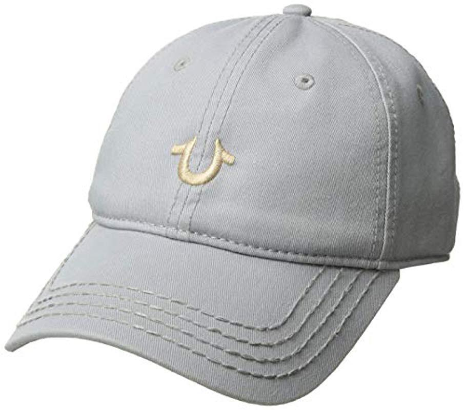 ca447bff87439 True Religion. Men s Gray Core Logo Baseball Cap