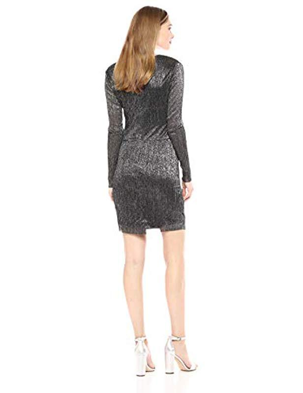 Lyst Guess Long Sleeve Cosmo Dress In Black