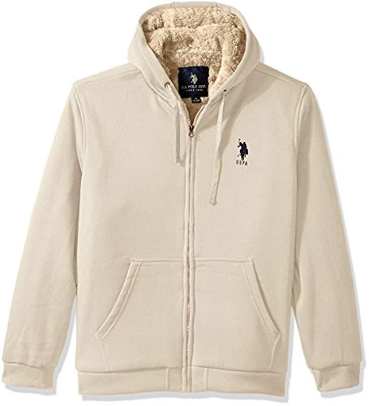 dbc72050 Lyst - U.S. POLO ASSN. Sherpa Lined Fleece Hoodie in Natural for Men ...