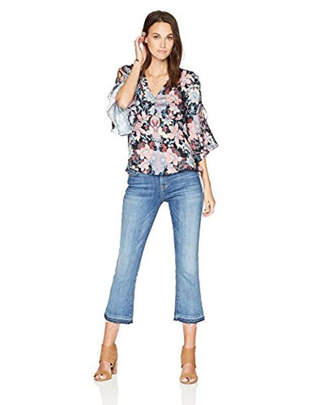 8655de00b26b Lyst - Ella Moon Oaklyn V Neck Lace Up Sleeve Empire Waist Top in Blue -  Save 2%