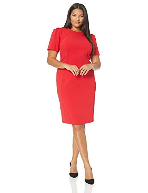 1774bbd4 Calvin Klein. Women's Red Plus Size Solid Short Sleeved Princess Seamed Sheath  Dress