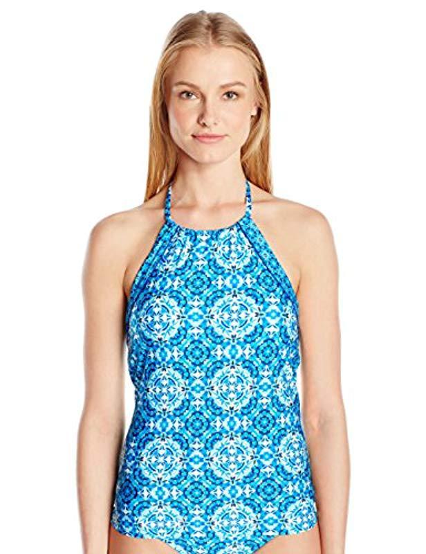 1e47de56784d6 Laundry by Shelli Segal. Women's Blue Mayan Escape High Neck Tankini
