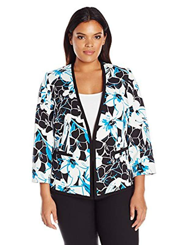 c28bc837e79 Lyst - Kasper Plus Size Floral Print Crepe Framed Cardigan Jacket in ...