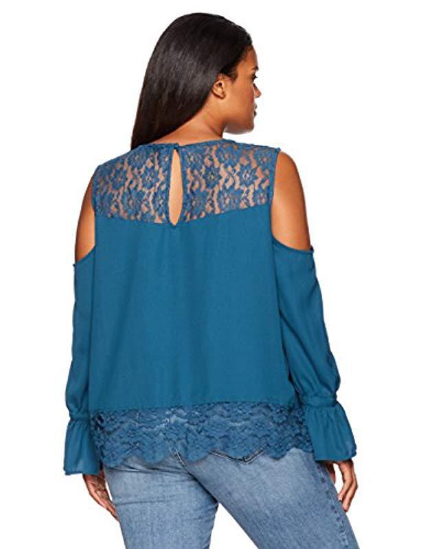 fa2a8e20835 Lyst - Jessica Simpson Plus Size Dara Cold Shoulder Top in Blue