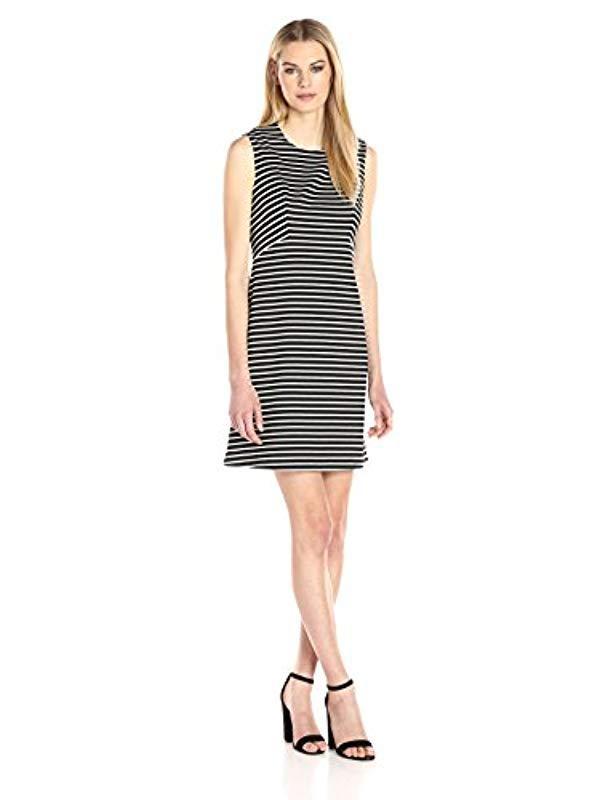 1444b6597f0 Lyst - Nine West Stripe Ponte Dress in Black - Save 23.595505617977523%