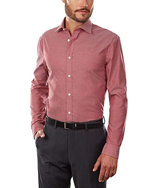 24766ab9 Lyst - Tommy Hilfiger Dress Shirt Slim Fit Non Iron Solid in Pink for Men