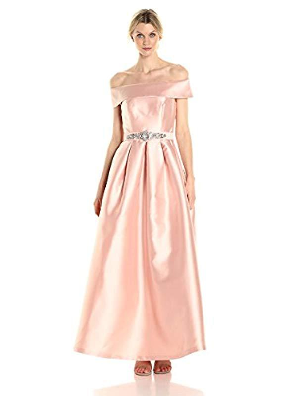 Lyst - Eliza J Off The Shoulder Roll Collar Ball Gown in Pink