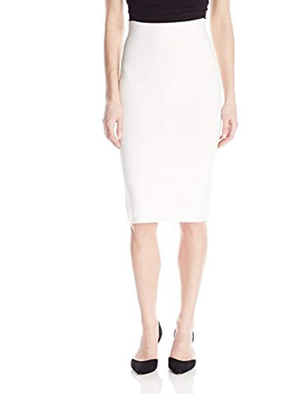 25a072950 Lyst - BCBGMAXAZRIA Leger Mid-length Knit Pencil Skirt in White