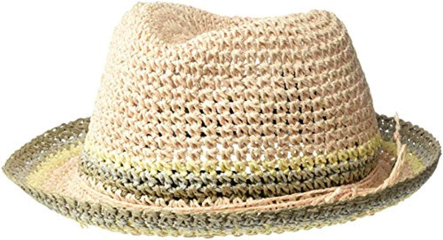 efe0bc0bde5fd7 Lyst - Steve Madden Raffia Crochet Straw Striped Fedora in Natural