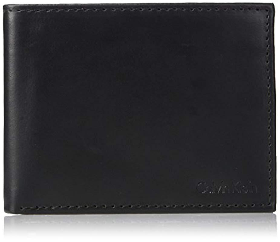 0b430f5cb4607 Lyst - Calvin Klein Rfid Blocking Leather Bifold Wallet With Key Fob ...