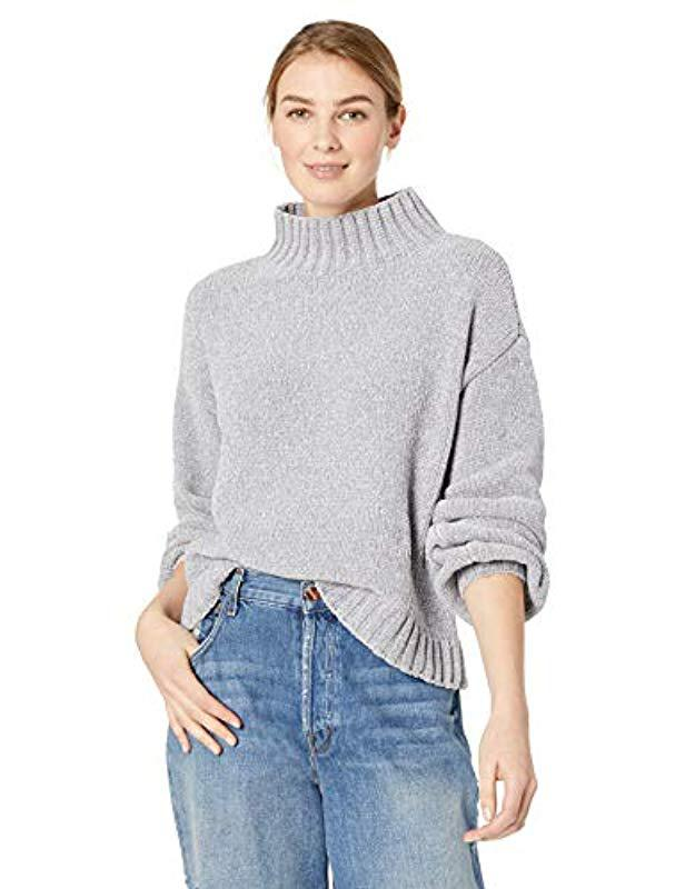f45bcb2c446 Michael Stars. Women's Gray Chenille Long Turtleneck Bishop Sleeve Pullover