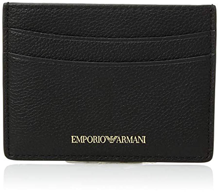 Lyst - Emporio Armani Designer Leather Cardholder, Black in Black c281ff0678