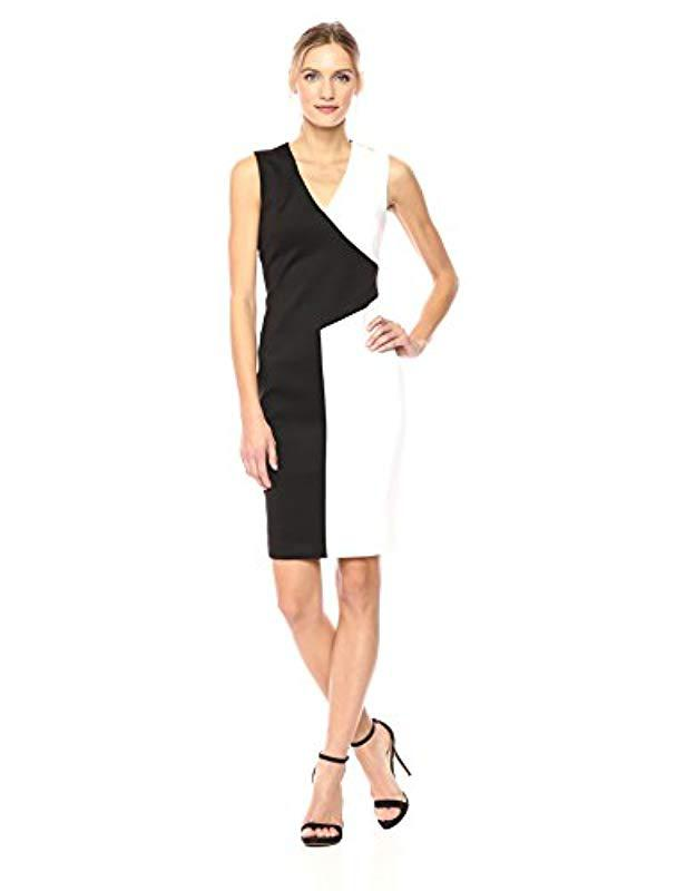ba8e535d Calvin Klein V Neck Color Block Dress in Black - Lyst